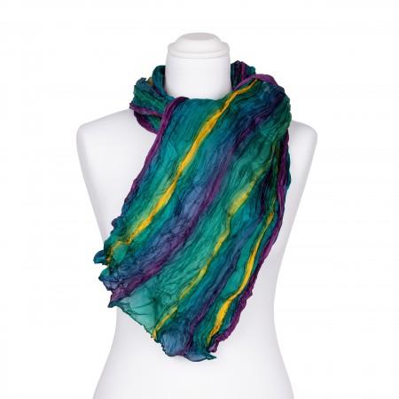 Knitterschal XXL Farbverlauf türkis violett gelb 100% reine Seide 180x90cm Crinkle
