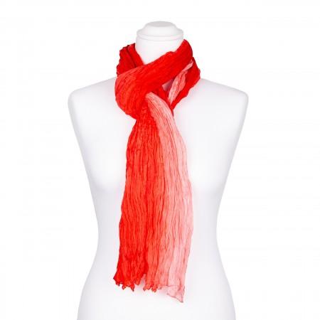 Knitterschal XXL Farbverlauf paprikarot rosé 100% reine Seide 180x90cm Crash-Schal