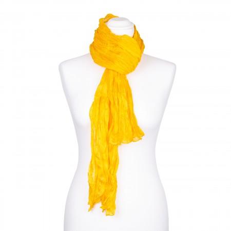 Knitterschal XXL gelb Goldgelb 100% reine Seide 180x90cm