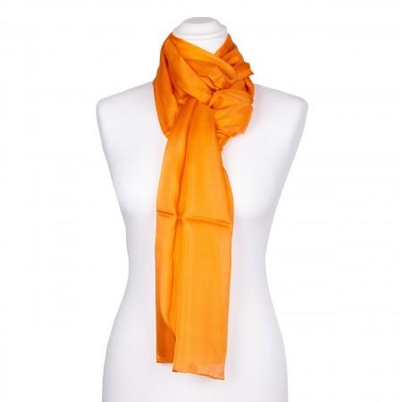 orangener Seidenschal aus 100% reiner Seide 180x45cm Damen einfarbig