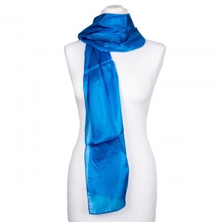 brillantblauer Seidenschal 100% reine Seide 180x45cm blau einfarbig