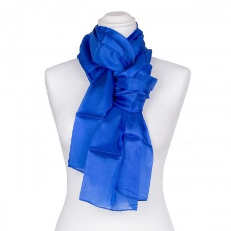 Seidenschal blau royalblau dunkelblau 100% reine Seide 180x45cm uni einfarbig