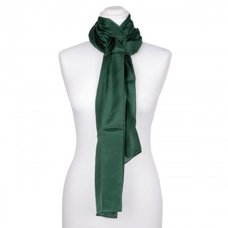 Seidenschal grün waldgrün dunkelgrün 100% reine Seide 180x45cm uni einfarbig