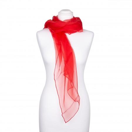 Seidenschal Chiffon Paprika-Rot 100% reine Seide 180x55cm Damen