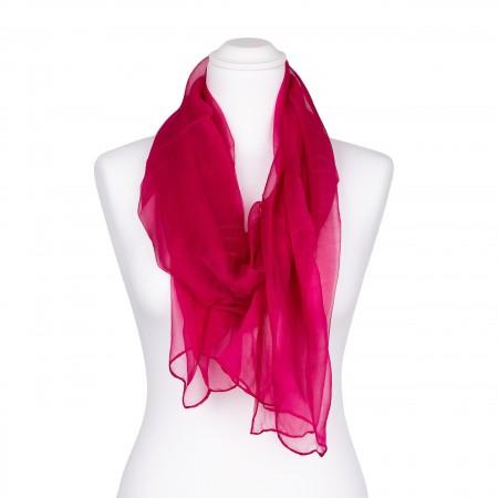 Chiffon-Seidenschal Fuchsia Pink 100% reine Seide 180x55cm unifarben