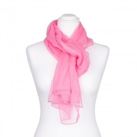 Chiffon-Seidenschal Malve Rosa 100% reine Seide pastell 180x55cm unifarben