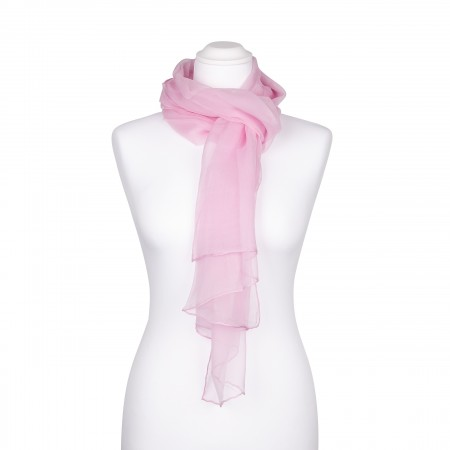 Seidenschal Chiffon perle rosa pink 100% reine Seide 180x55cm unifarben