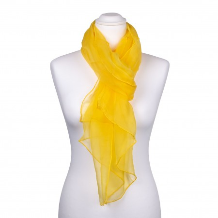 Seidenschal Chiffon gelb sonnenblumen 100% reine Seide 180x55cm
