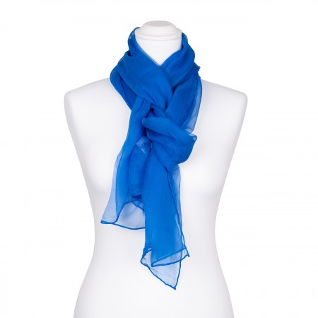 Seidenschal Chiffon blau brillantblau 100% reine Seide 180x55cm