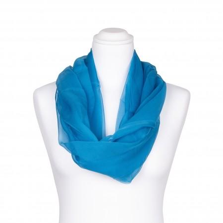 Seidenschal Chiffon himmelblau hellblau 100% reine Seide 180x55cm