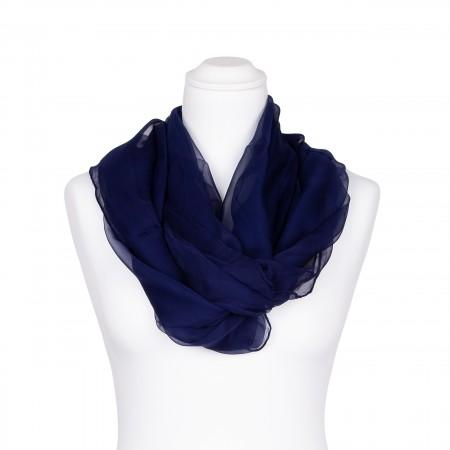 Seidenschal Chiffon blau nachtblau dunkelblau marine 100% reine Seide 180x55cm Damen