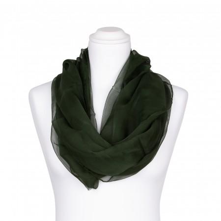 Seidenschal Chiffon Tannengrün Waldgrün Dunkelgrün 100% reine Seide 180x55cm Damen
