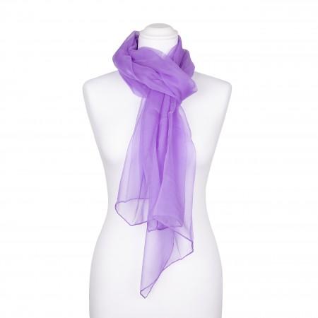 Seidenschal Chiffon Flieder lila pastell 100% reine Seide 180x55cm unifarben