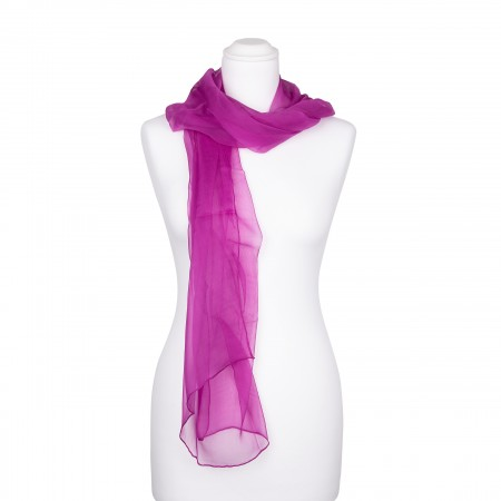 Seidenschal Chiffon purpur violett dunkellila 100% reine Seide 180x55cm