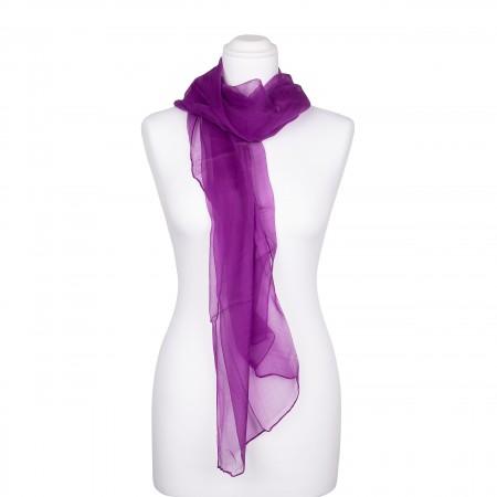 Seidenstola Chiffon purpur violett lila 100% reine Seide 230x55cm uni einfarbig