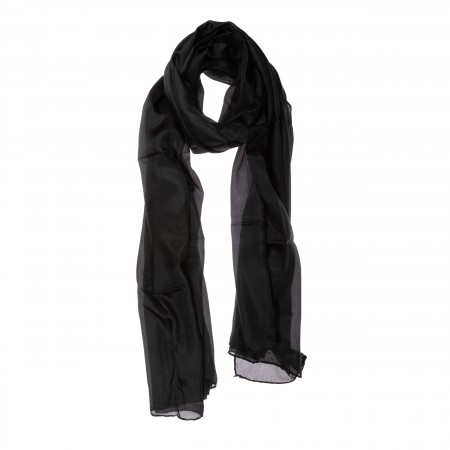 Seidenschal schwarz 180x90cm einfarbig reine Seide uni