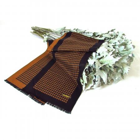 Seidenschal Seidenflanell 180x30cm Hahntritt schwarz braun reine Seide