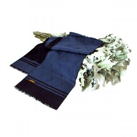Seidenschal blau schwarz 200x30 cm Diamantmuster reine Seide Seidenflanell