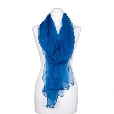 Seidenstola Chiffon Topas Blau 100% reine Seide 230x55cm