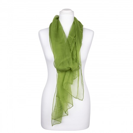 Seidenstola Chiffon grün hellgrün 100% reine Seide 230x55cm