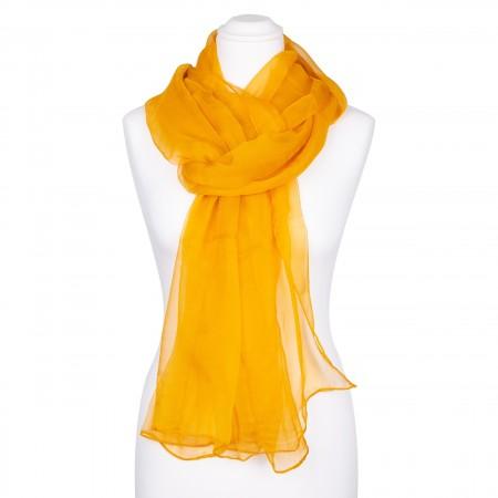 Seidenstola Chiffon bernstein ocker gelb braun 100% reine Seide 230x55cm