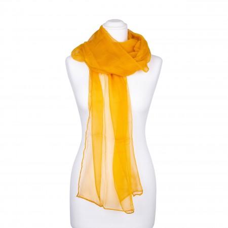 Seidenstola Chiffon bernstein ocker gelb braun 100% reine Seide 230x55cm einfarbig