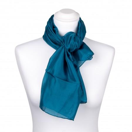 Seidentuch petrol blaugrün 100% reine Seide, 90x90cm uni einfarbig