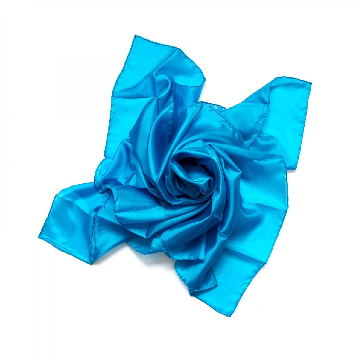 Nickituch Seidentuch blau blautürkis Seide 55x55cm