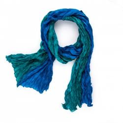 Seidenschal in Knitteroptik mit Farbverlauf grün blau 180x90 cm Crinkle