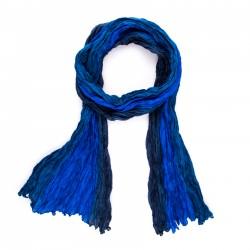 Seidenschal in Knitteroptik mit Farbverlauf blau dunkelblau royalblau 180x90cm Crinkle