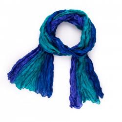 Seidenschal in Knitteroptik mit Farbverlauf blau 180x90cm Crinkle 100% reine Seide