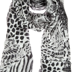 Seidenschal Halstuch Schal Leopard Zebra Schlangendesign schwarz grau