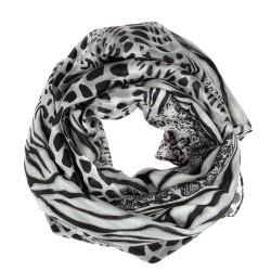 Seidenschal mit Animal-Print, Leoparden-, Schlangen- & Zebramuster schwarz grau