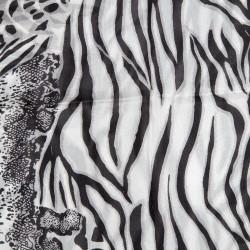 Seidenschal Halstuch Schal Leopard schwarz grau Damen
