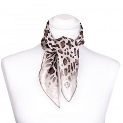 Nickituch aus Seide 53x53 cm mit Leopardenmuster grau, Halstuch, Seidentuch, Kopftuch, Bandana
