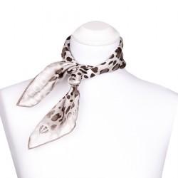 Nickituch aus Seide 53x53 cm mit Leopardenmuster Taupe für Damen