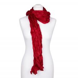 Knitterschal XXL Rot Tiefrot 100% reine Seide 180x90cm Crinkle uni einfarbig