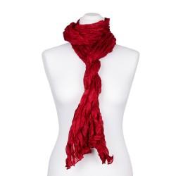 Knitterschal XXL Rot Tiefrot 100% reine Seide 180x90cm Crinkle Damen
