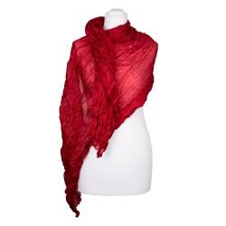Knitterschal XXL Rot Tiefrot 100% reine Seide 180x90cm Crinkle