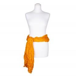 Knitterschal XXL gelb pagode 100% reine Seide 180x90cm Crinkle Seidengürtel