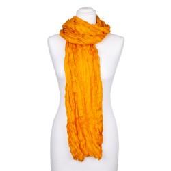 Knitterschal XXL gelb pagode 100% reine Seide 180x90cm Crinkle Damen