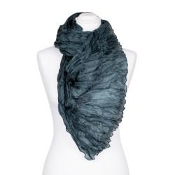 Knitterschal XXL dunkelgrün Jadegrün 100% reine Seide 180x90cm Damen