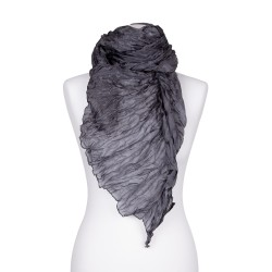 Knitterschal XXL grau 100% reine Seide 180x90cm Crinkle uni einfarbig