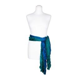 Knitterschal XXL mit Farbverlauf grün blau 100% reine Seide, 180x90cm Seidengürtel