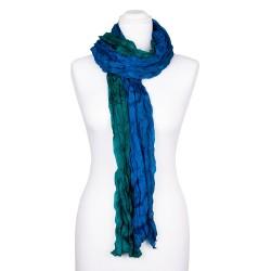 Knitterschal XXL mit Farbverlauf grün blau 100% reine Seide 180x90cm