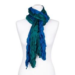 Knitterschal XXL mit Farbverlauf grün blau 100% reine Seide 180x90cm Damen