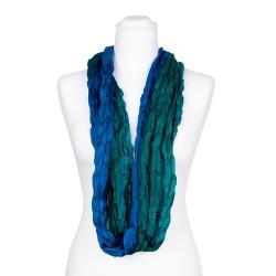 Knitterschal XXL mit Farbverlauf grün blau 100% reine Seide 180x90cm Crinkle