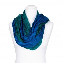 Knitterschal XXL mit Farbverlauf grün blau 100% reine Seide 180x90cm Crash-Schal