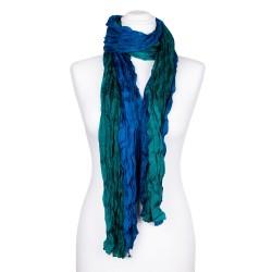 Seidenschal in Knitteroptik mit Farbverlauf grün blau 180x90 cm Crinkle Damen