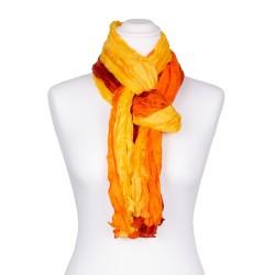 Knitterschal XXL gelb orange rot Farbverlauf 100% reine Seide 180x90cm